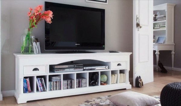 novasolo landhausmoebel weiss tv board lowboard tv schrank. Black Bedroom Furniture Sets. Home Design Ideas